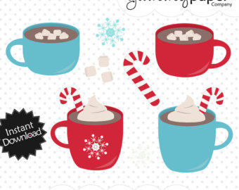 Hot Cocoa Candy Cane - Winter Themed Digital Clipart - Personal and Commercial Use hc01