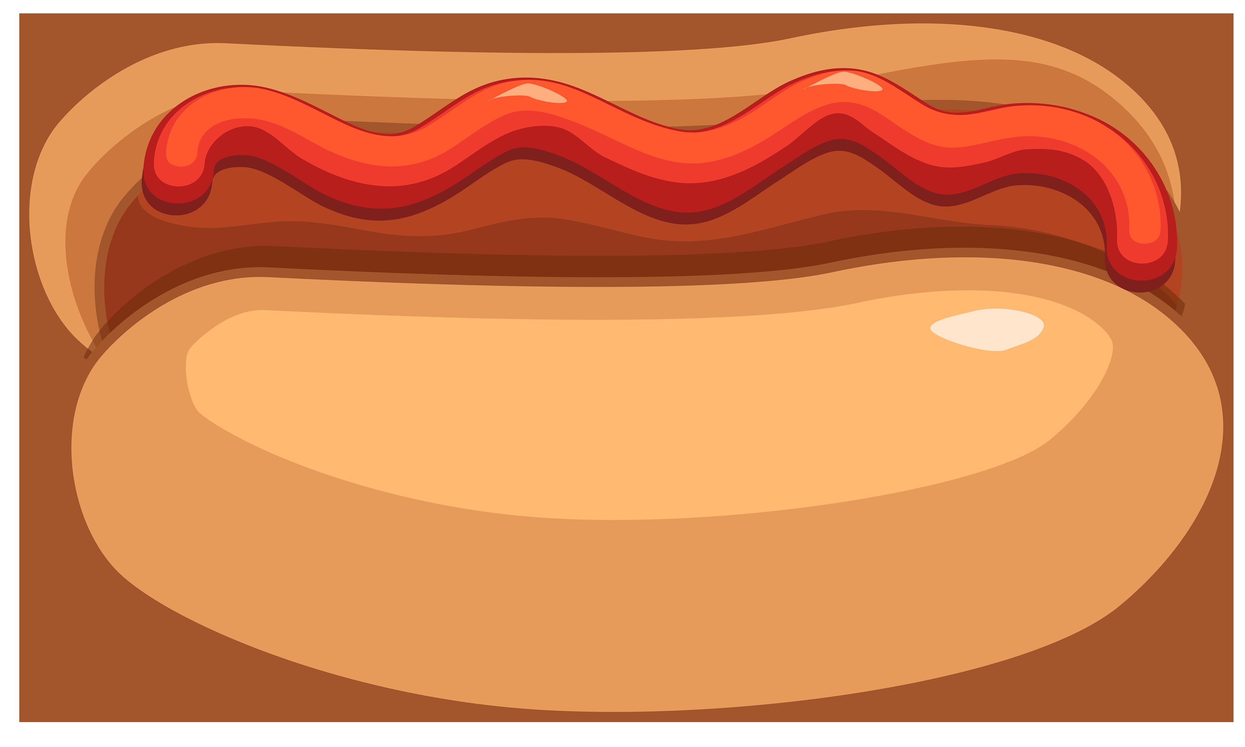 Hot dog and ketchup clipart .