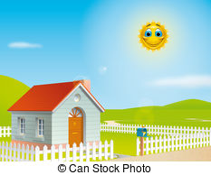 ... House at a sunny day - Illustration of a house at a sunny.