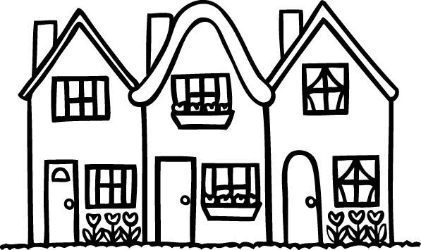 House black and white row of houses clipart black and white free clip art  images