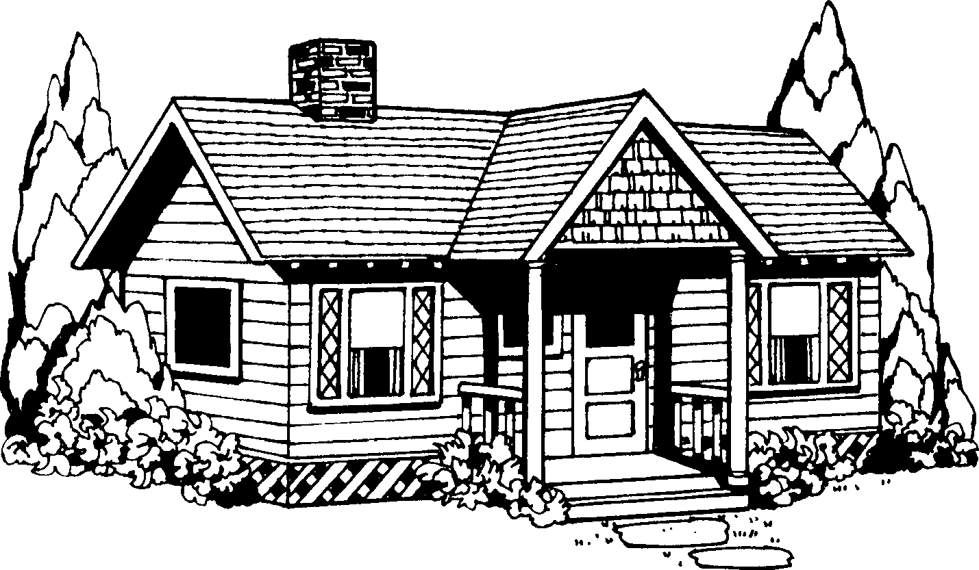 House Clipart Coloring Black White #29983