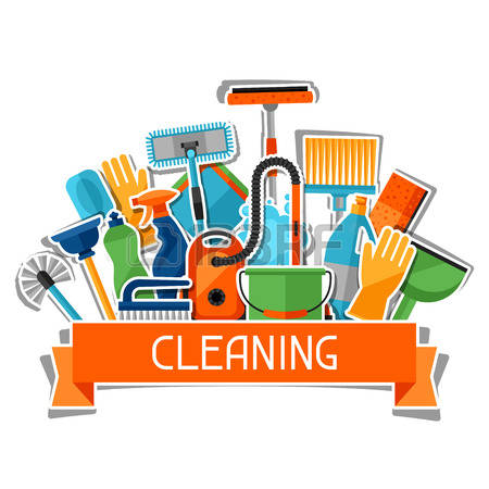 housekeeping: Housekeeping background with cleaning sticker icons. Image can be used on advertising booklets