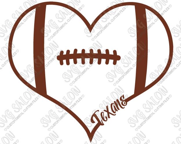 625x500 Texans Fan Football Laces Heart Custom DIY Vinyl Shirt Decal