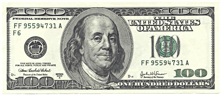 Hundred Dollar Bill Clipart #1
