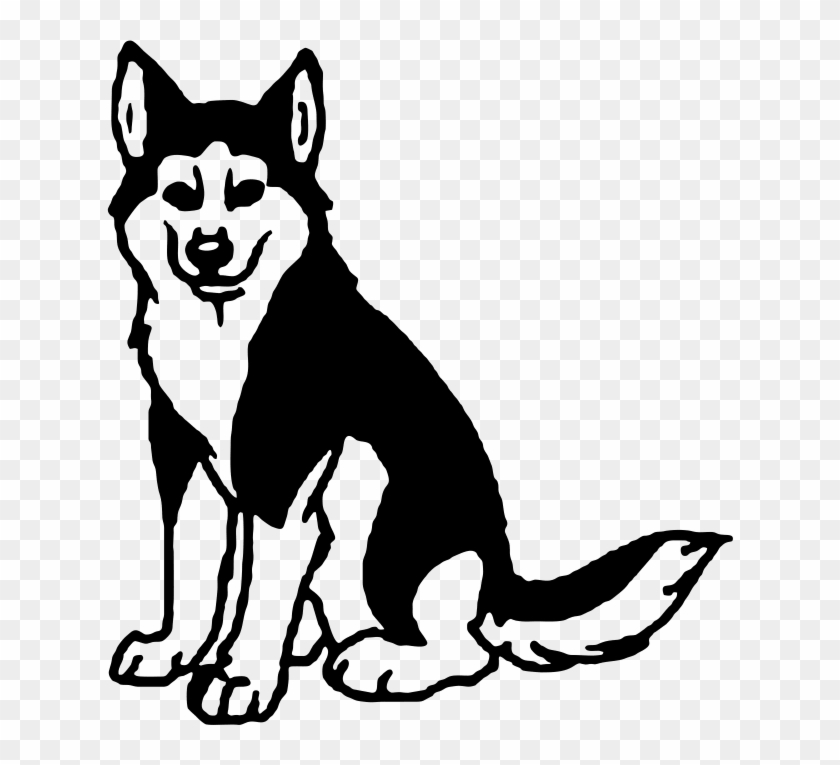 Black And White Husky Clipart - Husky Clipart Black And White #1217848