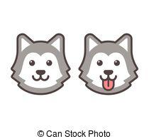 . ClipartLook.com Husky head icons - Cute cartoon husky dog head icons,.