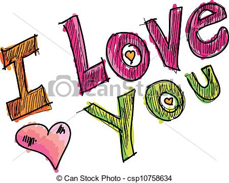 ... i love you, vector illustration