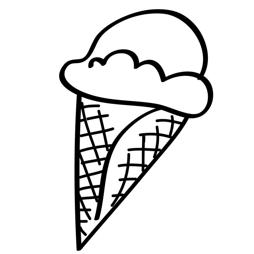 Black u0026 White clipart ice cream #3