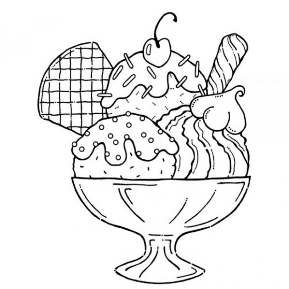 Ice Cream Clipart Black And White #9892