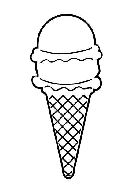 Ice Cream Cone Black And White Clipart #1