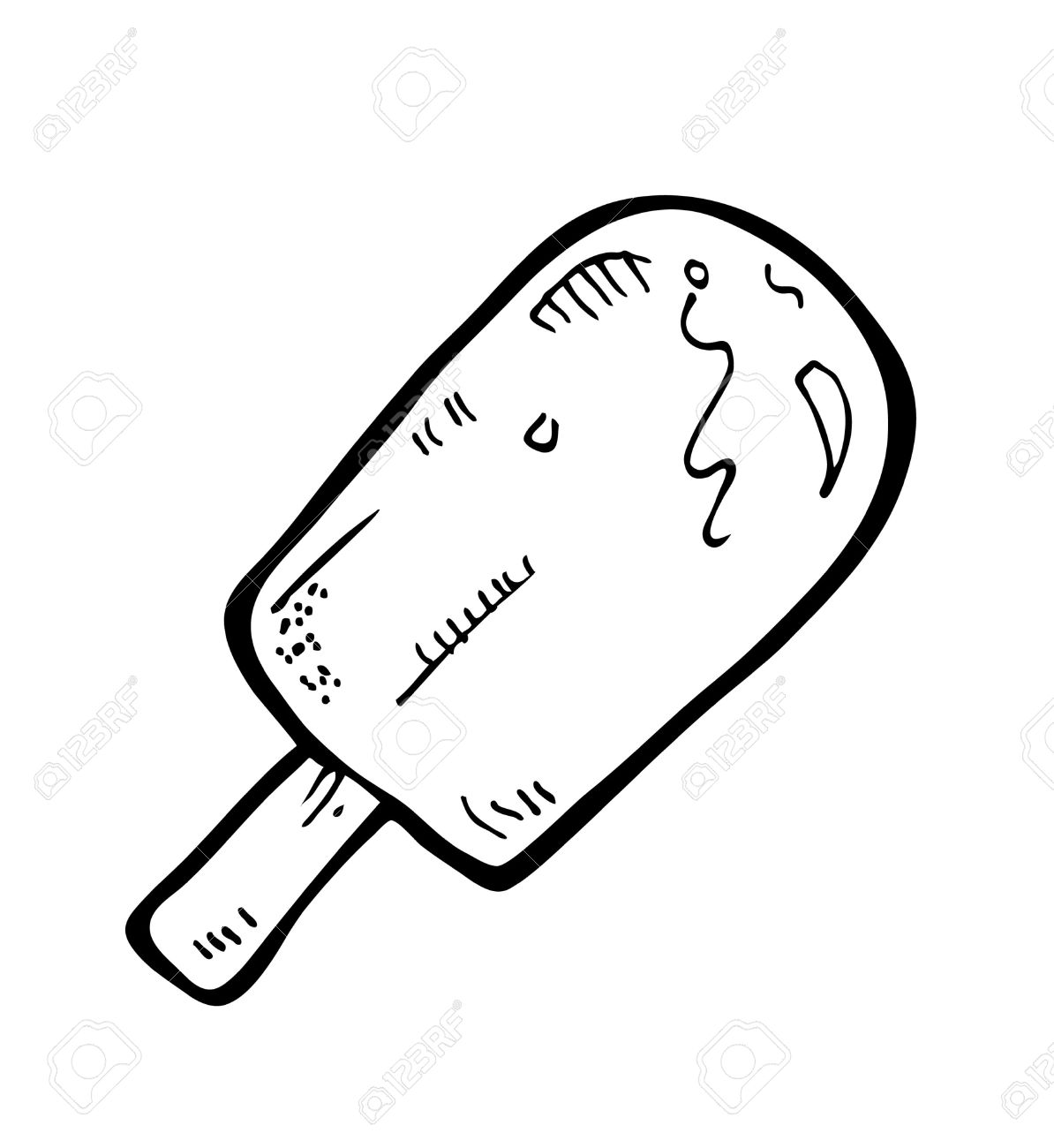 Popsicle clipart black and white #3
