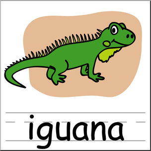 Clip Art: Basic Words: Iguana Color Labeled I abcteach clipartlook.com - preview 1
