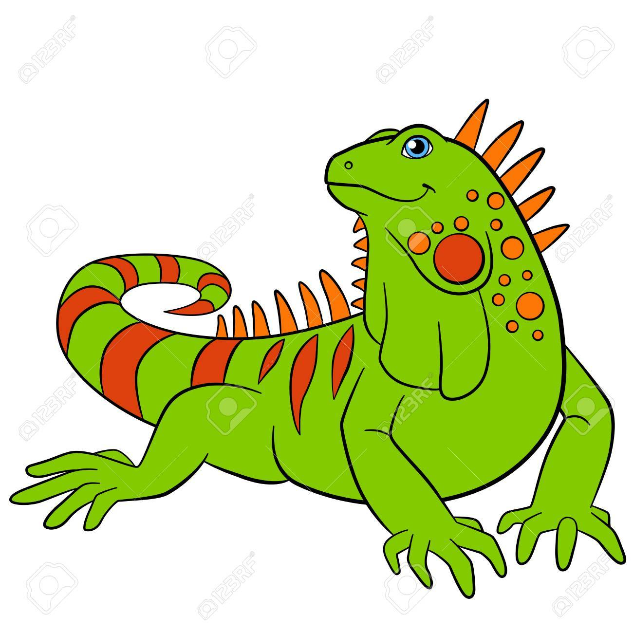 Cute green iguana sits and smiles. Stock Vector - 62894630