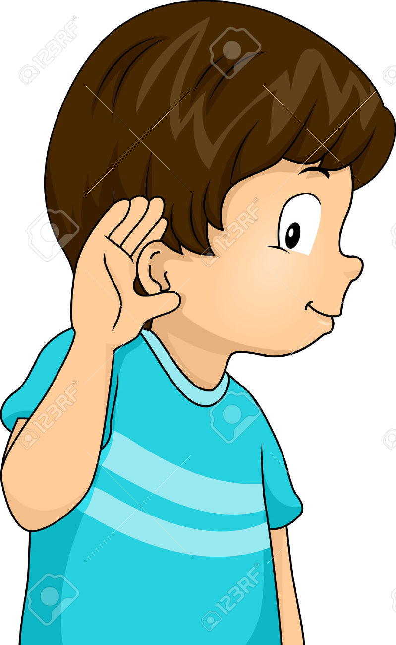 Illustration - Illustration of a Little Boy with His Hand Pressed Against His Ear in a Listening Gesture
