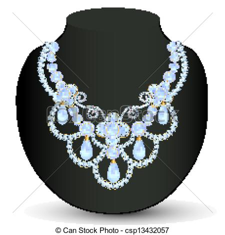 Illustration Necklace Women Blue For Marriage With Pearls And Precious