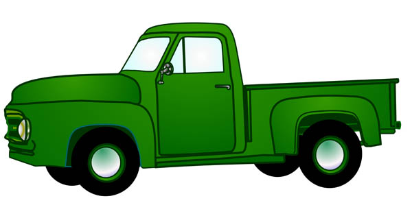 Illustration Of An Old Green Pickup Truck From Early 1950s