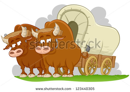 Illustration of bulls drawn covered wagon