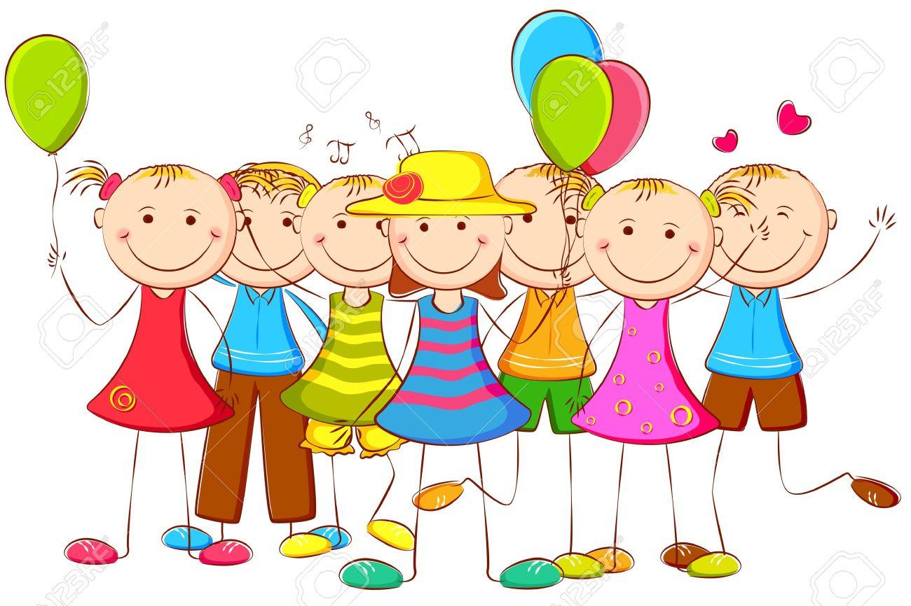 illustration of happy kids .