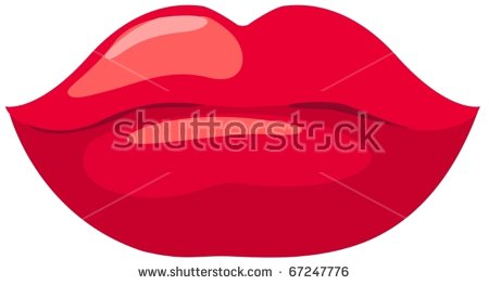 illustration of isolated red lips on white background