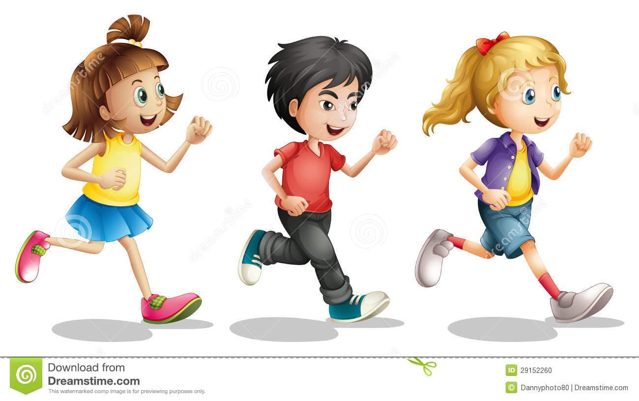 Illustration Of Kids Running On A White Background