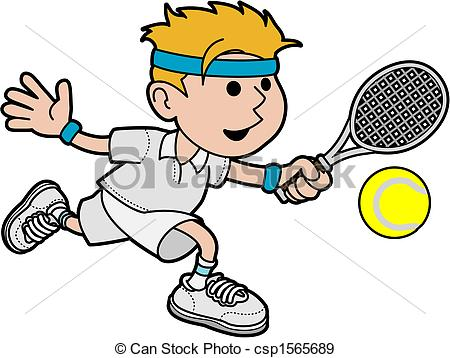 ... Illustration of male tennis player hitting ball with tennis.