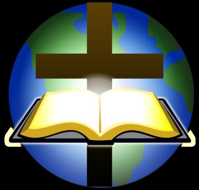 Image Bible And Cross Before Globe Cross Image Christart Com