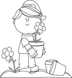 Image result for black and white garden clipart