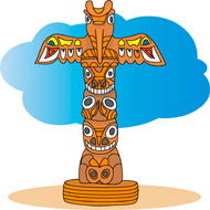 Indian Totem Pole Clipart .