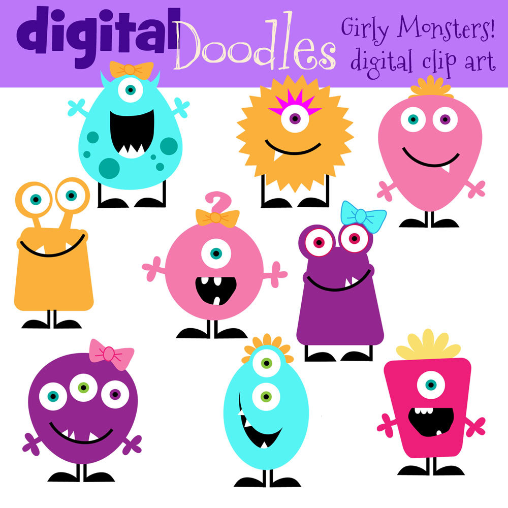 Instant Download Girly Monster .