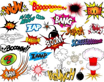 Instant Download Superhero Clip Art Digital Comic Book Clip Art Super Heros Text and Bubbles Clipart - Bang Boom Zap Sound Sayings 0320