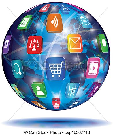 Internet Concept. Globe. Application Icons. Vector