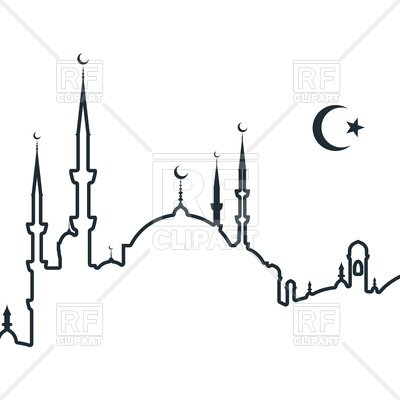 Silhouette of arabic city with mosque - symbols of Islam, 124179, download  royalty- ClipartLook.com