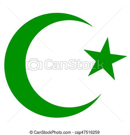 symbol of Islam, crescent and star dark green - csp47516259