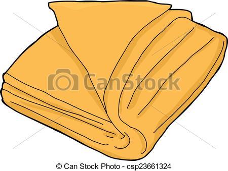 Isolated Orange Towel - Single orange folded towel cartoon.