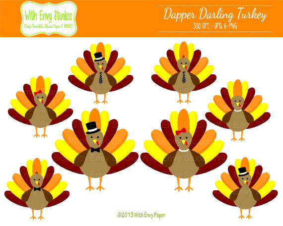 Items similar to 50% OFF Turkey Clipart - Cute Turkeys Clipart - Thanksgiving Clipart - Personal and Commercial Use on Etsy