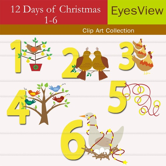 Items similar to Clip Art, 12 Days of Christmas, clipart Digital, INSTANT DOWNLOAD, Commercial use for Cards, Stationary, digital, Paper Products on Etsy