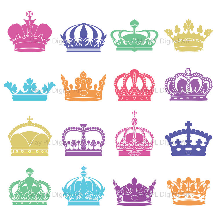Items Similar To Silhouette Clip Art Crowns Digital Crown Clipart