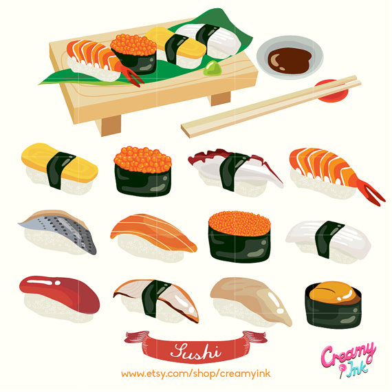 Japanese Sushi Digital Vector Clip art/ Japan Food Digital Clipart Design Illustration / Seafood,
