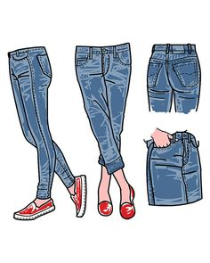 Hand drawn fashion Collection of girlu0027s jeans. clipart commercial use,  vectoru2026