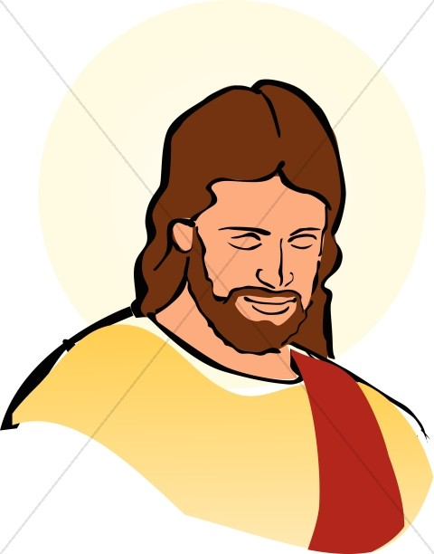 Color Portrait of Jesus - Jesus Clipart