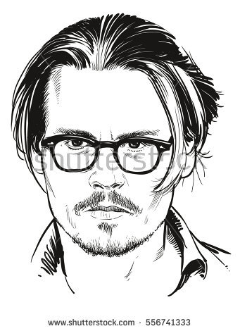 January 16, 2017: Portrait of Hollywood actor Johnny Depp. Vector  illustration. Editorial