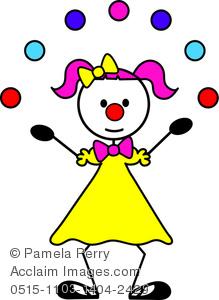 Clip Art Image of a Female Stick Figure Clown Juggling