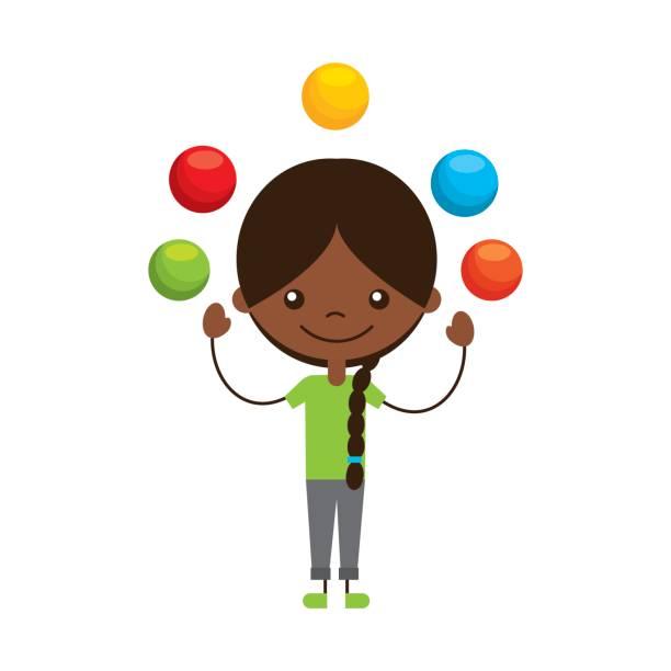 cute girl Juggling balls character icon vector art illustration