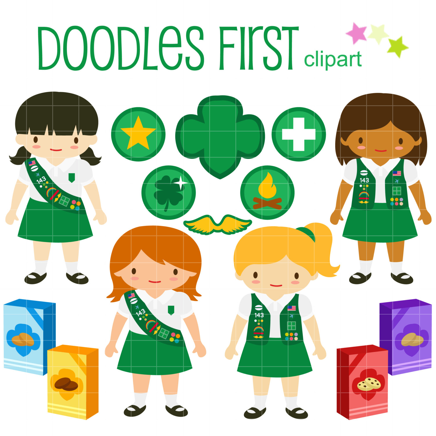 Junior Girl Scouts Clip Art for Scrapbooking Card Making Cupcake Toppers Paper Crafts