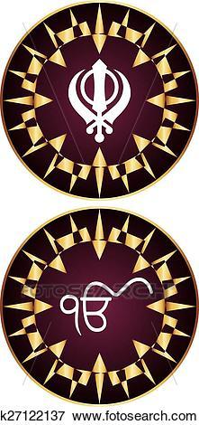 Clip Art - Ek Onkar, Khanda The Holy Motif. Fotosearch - Search Clipart,