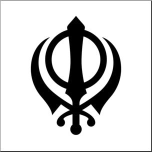 Clip Art: Religious Symbols: Khanda Bu0026W I abcteach clipartlook.com - preview 1