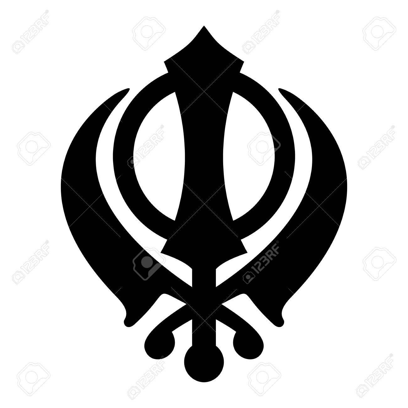 Khanda Sikh icon isolated on white background. Black silhouette. Religious  symbol. Vector illustration
