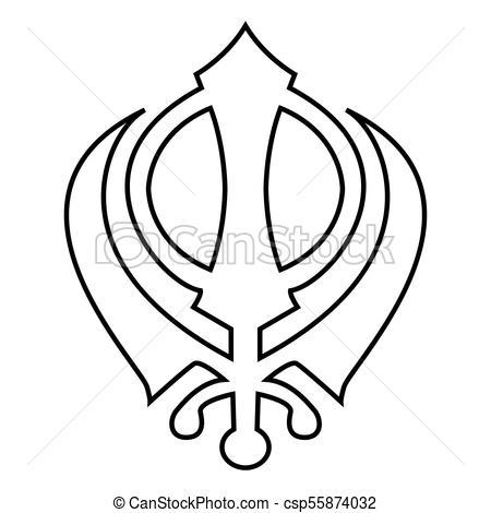 Khanda Symbol Sikhi Sign Icon Black Color Illustration Flat Style Simple  Image