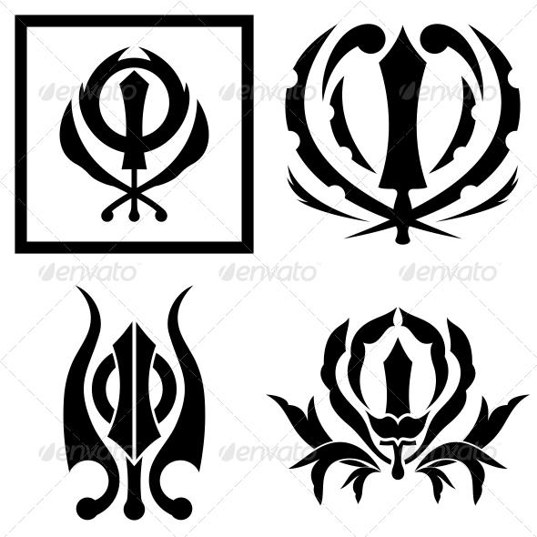 Tribal Sikhism sign Khanda Sahib - Vector Pack - Religion Conceptual