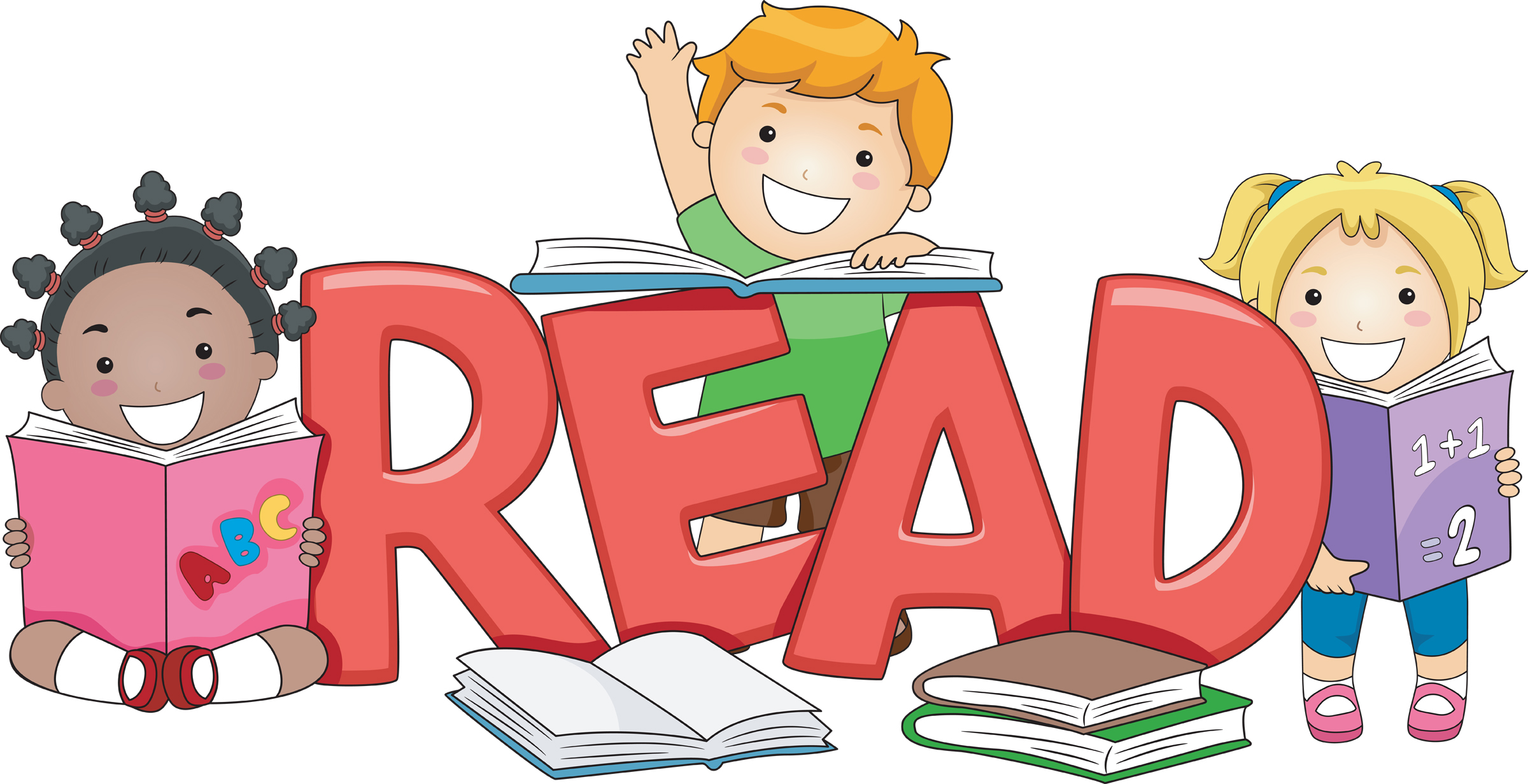 Kid reading reading group clipart 2